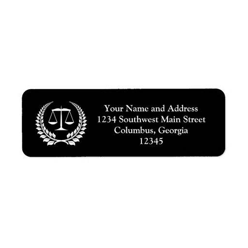 Graduación negra/blanca del colegio de abogados de etiquetas de remite