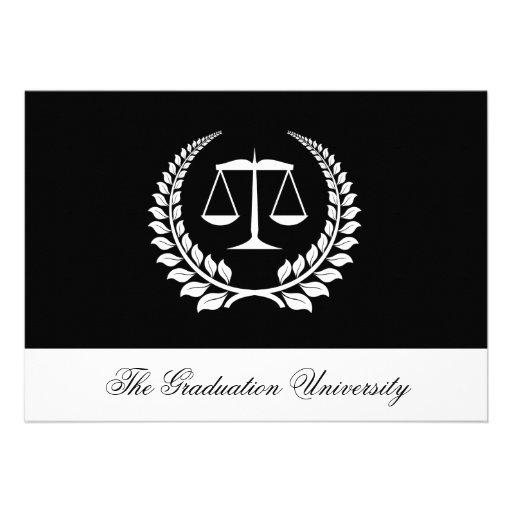 Graduación negra/blanca del colegio de abogados de invitacion personalizada