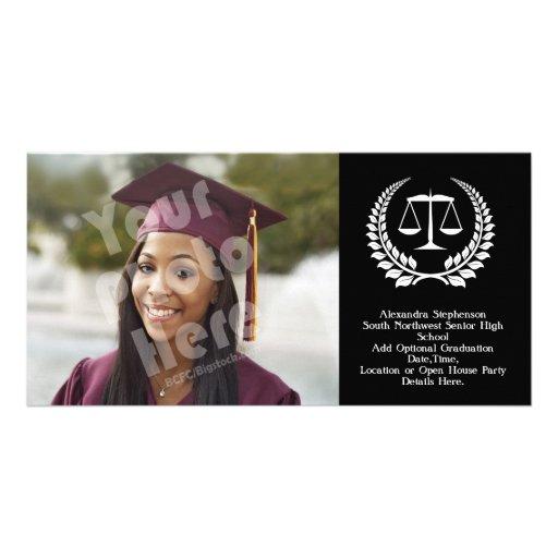 Graduación negra/blanca del colegio de abogados de tarjeta fotografica personalizada