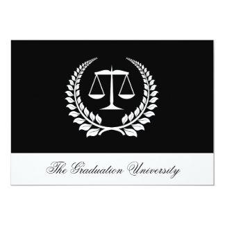 Graduación negra/blanca del colegio de abogados invitación 12,7 x 17,8 cm