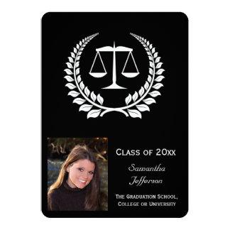 """Graduación negra/blanca del colegio de abogados invitación 5"""" x 7"""""""