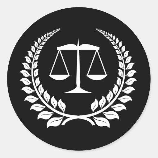 Graduación negra/blanca del colegio de abogados pegatina redonda