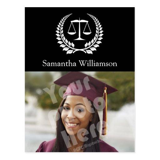 Graduación negra/blanca del colegio de abogados postal