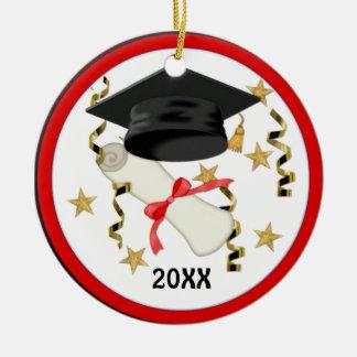 Graduación negra del mortero y del diploma adorno navideño redondo de cerámica