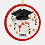 Graduación negra del mortero y del diploma adornos de navidad