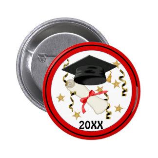 Graduación negra del mortero y del diploma pin redondo de 2 pulgadas