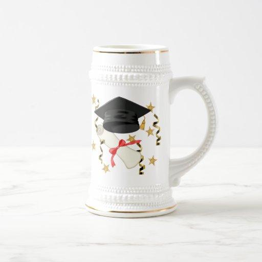 Graduación negra del mortero y del diploma taza
