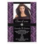 Graduación negra púrpura elaborada del damasco invitaciones personalizada