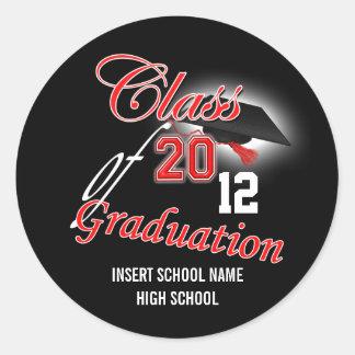 """Graduación negra roja """"clase"""" de la invitación pegatina redonda"""
