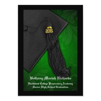 """Graduación negra verde de la universidad del invitación 5"""" x 7"""""""