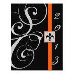 Graduación negra y anaranjada de la cinta de invitación 10,8 x 13,9 cm