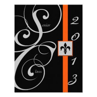 Graduación negra y anaranjada de la cinta de volut invitacion personalizada