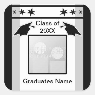 Graduación negro, blanco y gris (marco de la foto) pegatina cuadrada