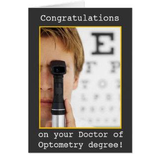 Graduación - optometría del oculista tarjeta de felicitación