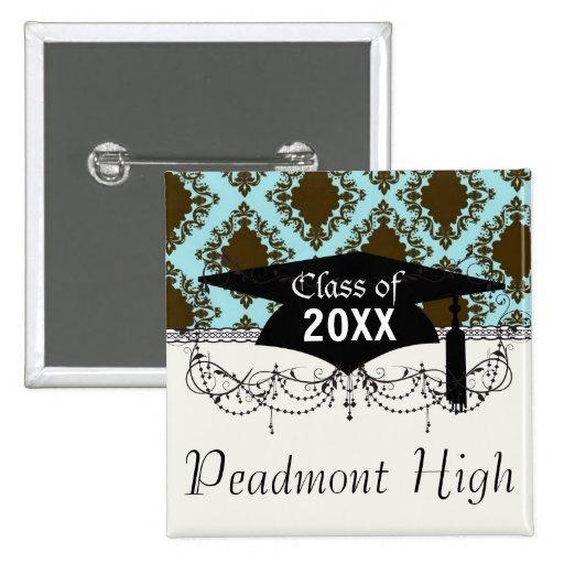graduación preciosa del damasco del diamante marró pins