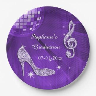 Graduación púrpura de la bola de discoteca y de plato de papel de 9 pulgadas