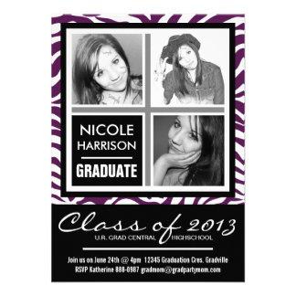 Graduación púrpura de la foto de la cebra 3 blanco invitación