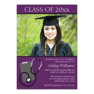 Graduación púrpura de la foto de la escuela de invitaciones personales
