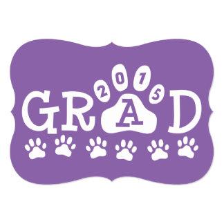 """Graduación púrpura de las patas de las invitación 5"""" x 7"""""""