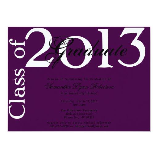 """Graduación púrpura elegante Annoucement/invitación Invitación 5.5"""" X 7.5"""""""