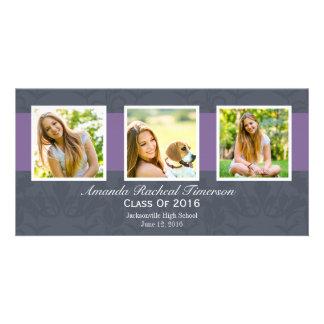 Graduación púrpura elegante de la pizarra de la tarjeta personal con foto