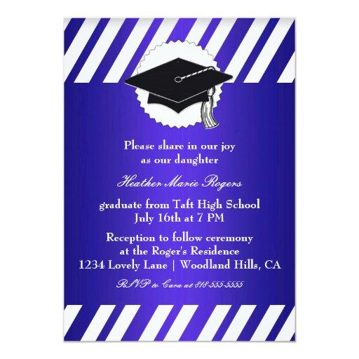 Graduación rayada blanca azul Inivitation Invitación 12,7 X 17,8 Cm