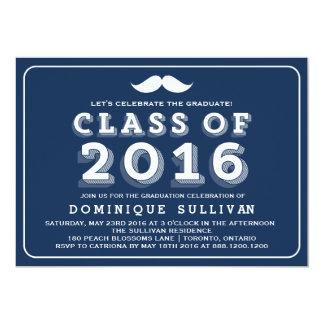 """Graduación retra 2016 del bigote de la marina de invitación 5"""" x 7"""""""