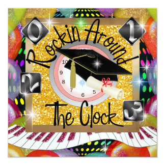 """Graduación Rockin las veinticuatro horas del día - Invitación 5.25"""" X 5.25"""""""