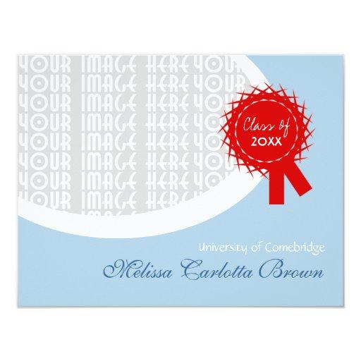 Graduación roja del azul de la cinta invitación 10,8 x 13,9 cm