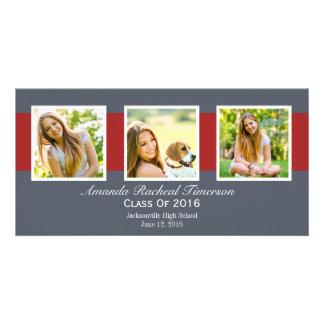Graduación roja elegante de la pizarra de la foto tarjeta fotografica personalizada