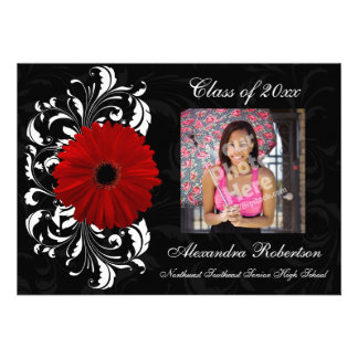 Graduación roja negra de la margarita del Gerbera Invitación Personalizada