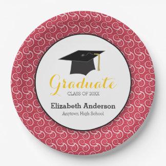 Graduación roja y amarilla, personalizada plato de papel de 9 pulgadas