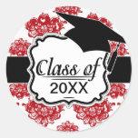 graduación romántica blanca y roja del modelo del pegatina redonda