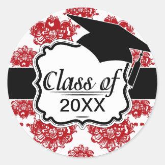 graduación romántica blanca y roja del modelo del pegatina