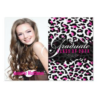 """Graduación rosada cheetah/2013/foto de PixDezines Invitación 5"""" X 7"""""""