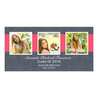 Graduación rosada elegante de la pizarra de la tarjeta fotográfica personalizada