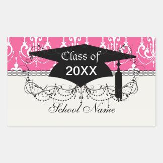 graduación rosada elegante del damasco de la lámpa pegatina