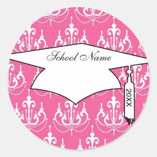 graduación rosada elegante del damasco de la lámpa etiqueta