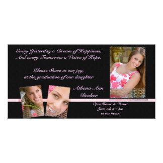 Graduación rosada y negra Annoucment y invitación Tarjetas Fotográficas Personalizadas
