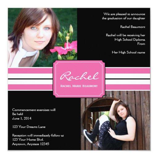 Graduación rosada y negra de la foto de la cinta comunicado