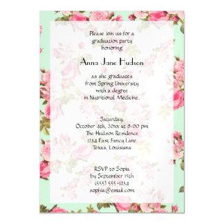 Graduación - rosas, flores, hojas - verde rosado invitaciones magnéticas