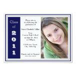 Graduación triple del capítulo (azul y plata) invitación 12,7 x 17,8 cm