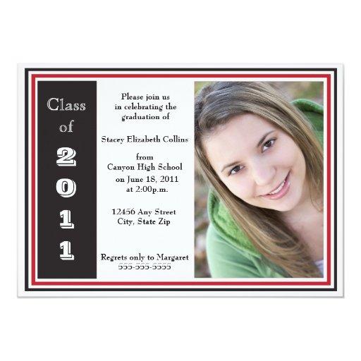 Graduación triple del capítulo (negro y rojo) invitación 12,7 x 17,8 cm