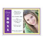 Graduación triple del capítulo (púrpura y oro) invitación 12,7 x 17,8 cm