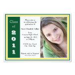 Graduación triple del capítulo (verde y oro) invitación 12,7 x 17,8 cm