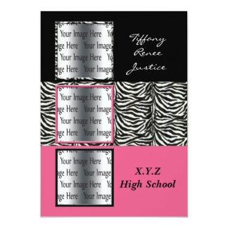 """graduación triple rosada elegante de la foto invitación 5"""" x 7"""""""