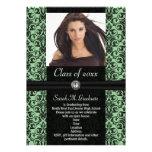 Graduación verde clara elaborada del damasco invitaciones personales