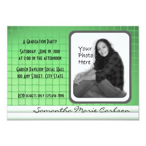 Graduación verde de la invitación de la foto de la invitación 12,7 x 17,8 cm
