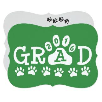 """Graduación verde de las patas de las invitaciones invitación 5"""" x 7"""""""