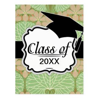 graduación verde frondosa del estampado de flores  tarjetas postales